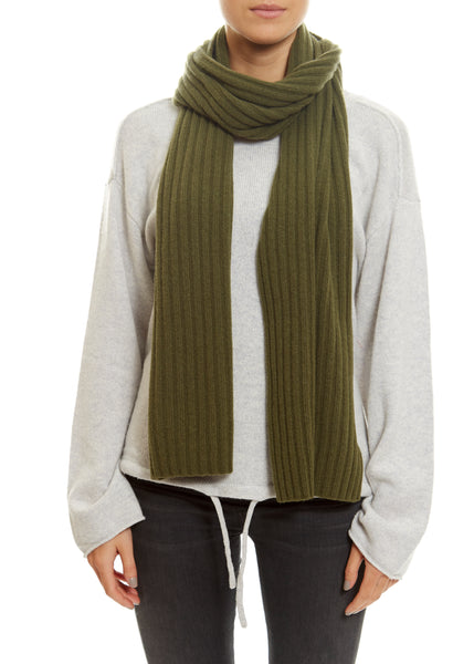 Khaki Lined Ribbed Scarf