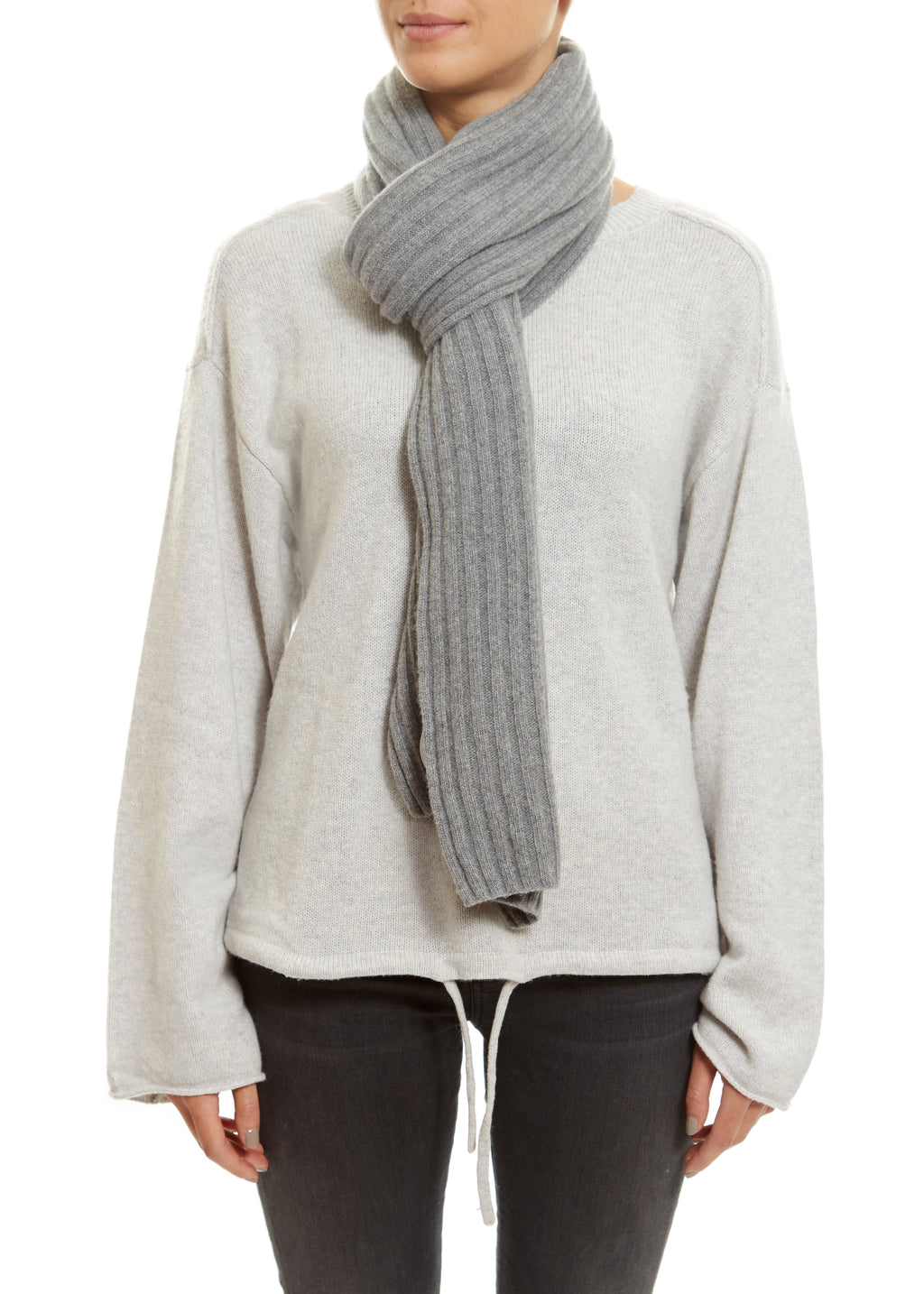 Grey Lined Ribbed Scarf