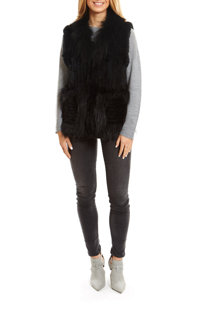 Black Knitted Rabbit Gilet With Raccoon Trim Fur5eight - Jessimara