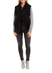 Fur5eight Black Knitted Rabbit With Raccoon Trim - Jessimara