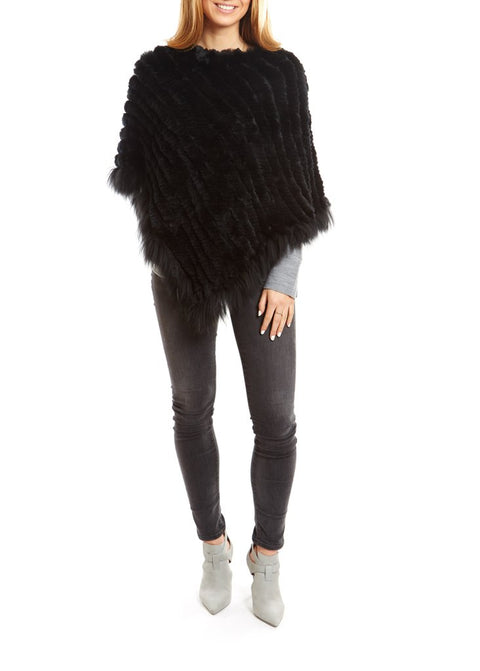 Black Knitted Rabbit Fur Poncho Coat With Raccoon Edging