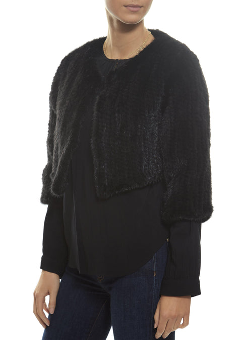 Black Knitted Rex Rabbit Fur Jacket