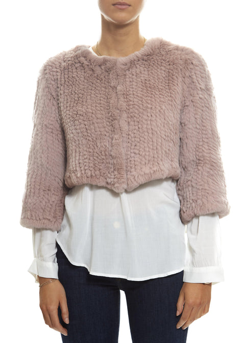 Cropped Knitted Rabbit 'Baby Pink' Jacket