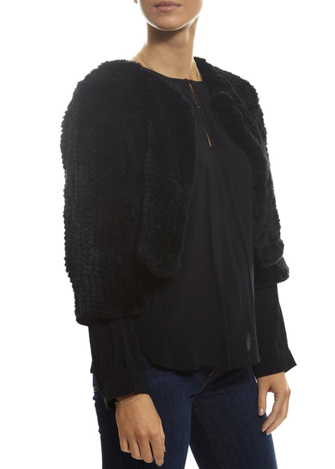 Cropped Knitted Rabbit 'Black' Mink Jacket