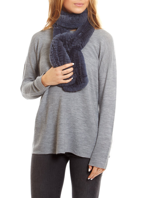 Dark Blue Open Knitted Rabbit Rex Scarf Fur5eight - Jessimara