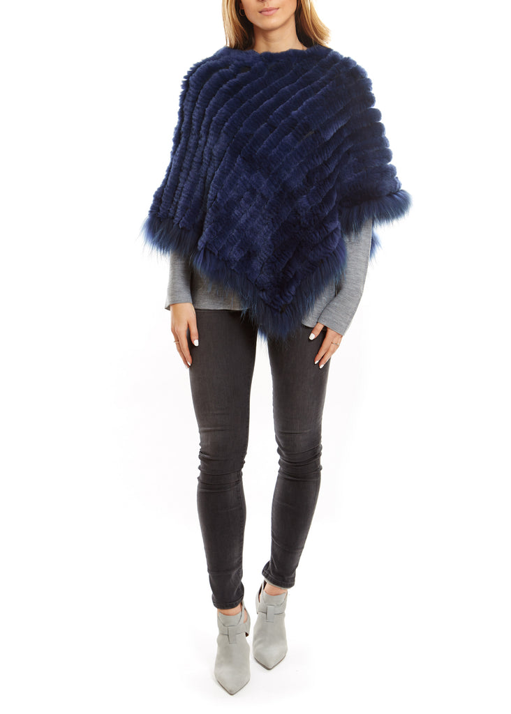 Navy Knitted Rabbit Fur Poncho Coat With Raccoon Edging - Jessimara