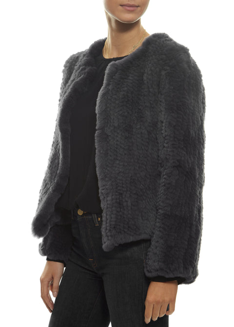 Short 'Grey' Knitted Rex Rabbit Fur Jacket