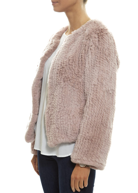Short 'Baby Pink' Knitted Rex Rabbit Fur Jacket