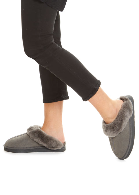 Grey on Grey Luxury Sheepskin Slippers