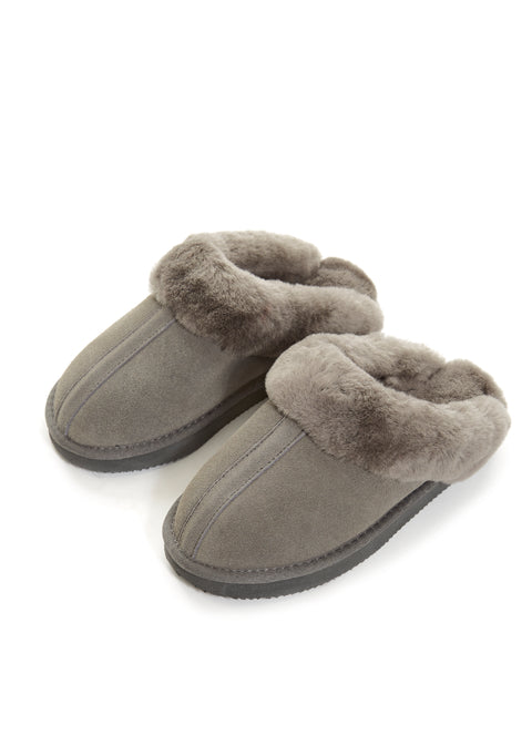 Grey on Grey Luxury Sheepskin Slipper Slides | Jessimara London