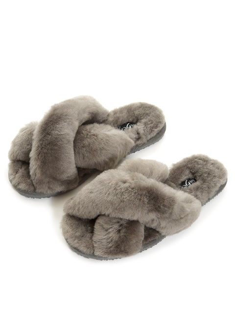 Dark Grey Criss Cross Luxury Sheepskin Slippers | Jessimara London