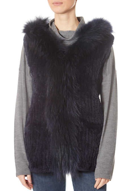 Navy Rabbit Gilet With Raccoon Trim | Jessimara London