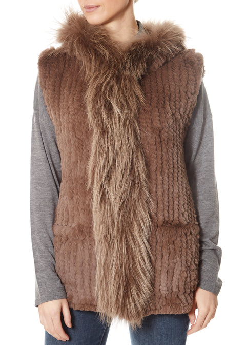 Taupe Rabbit Gilet With Raccoon Trim | Jessimara London