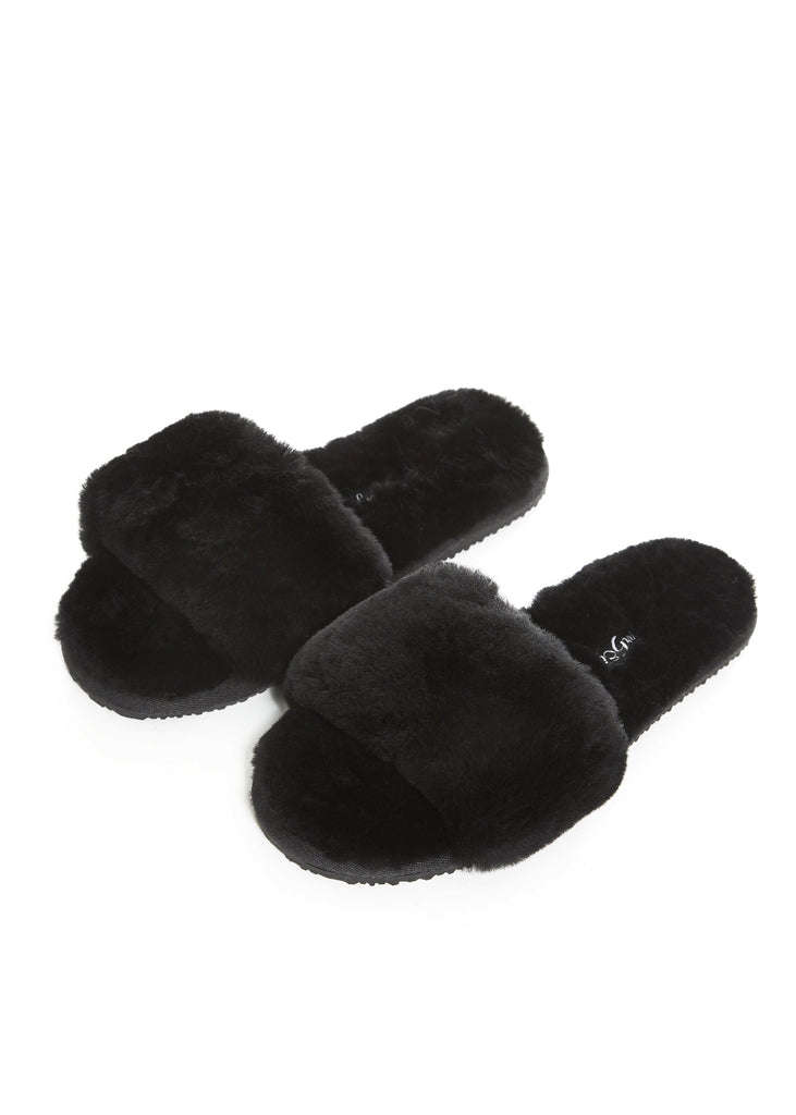 Black Sheepskin Shallow Slippers Sliders - Jessimara