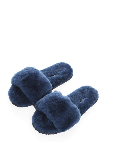 Navy Luxury Sheepskin Slippers Slides | Jessimara London