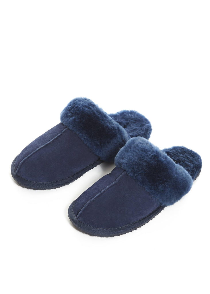 'Classic' Navy Thin Sheepskin Slippers | Jessimara London