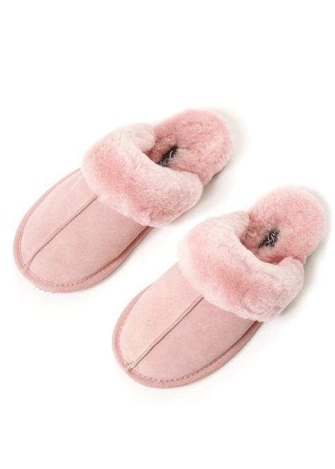 'Classic' Baby Pink Thin Sheepskin Slippers | Jessimara London