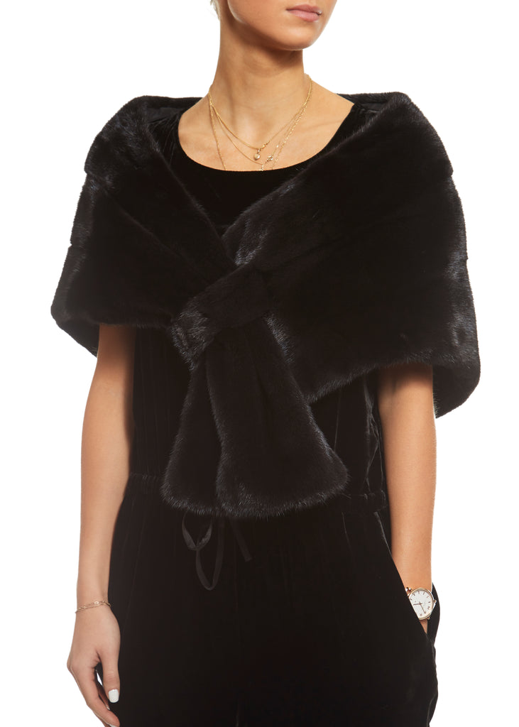Black Mink Loop Through Evening Wrap | Jessimara London