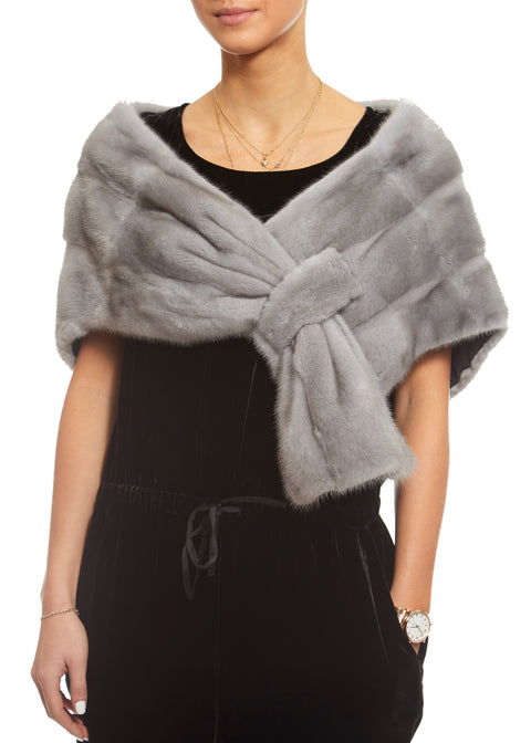 Sapphire Grey Mink Knit Loop Through Evening Wrap | Jessimara London