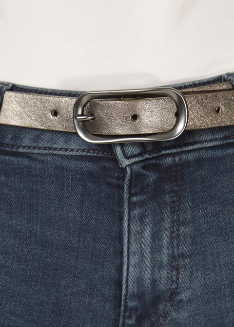 'Clear' Thin Shimmery Pewter Belt | Jessimara London