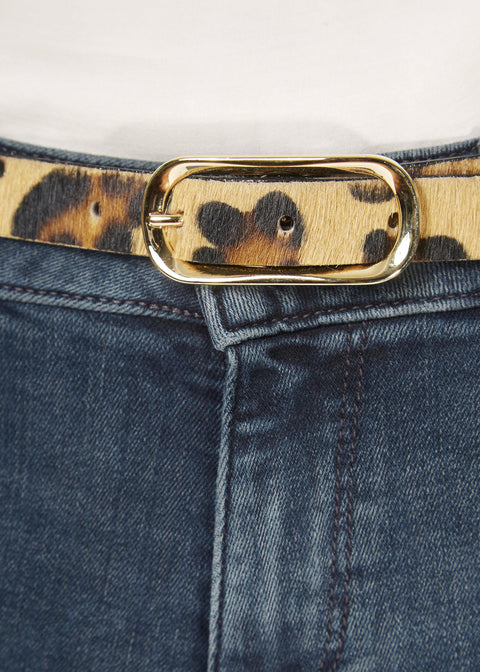 'Midori' Thin Leopard Print Belt With Gold Buckle | Jessimara London
