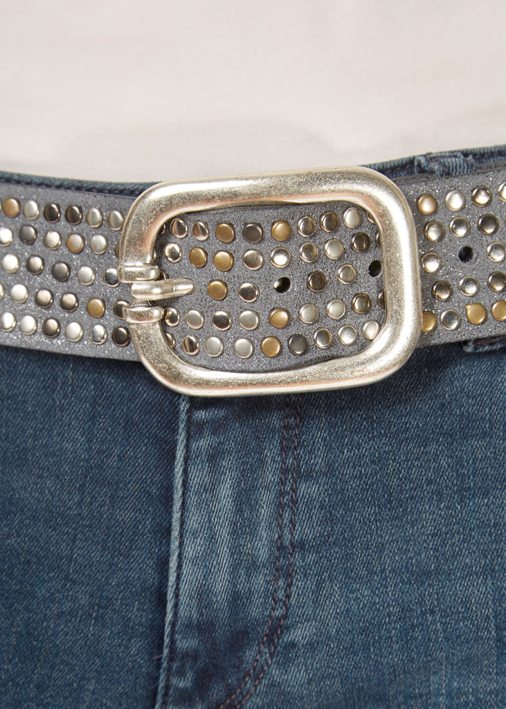 'Ivy' Mixed Metal Studded Belt With Silver Buckle | Jessimara London