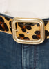 'Julianne' Leopard Print Deep Belt With Gold Buckle - Jessimara