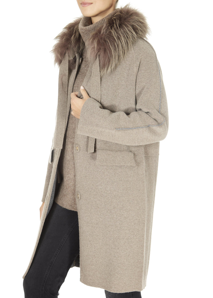 'Grafite' Reversible Wool Belted Cardigan Coat