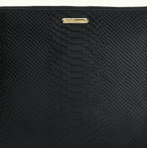 Gigi New York Uber Black Python Clutch Bag