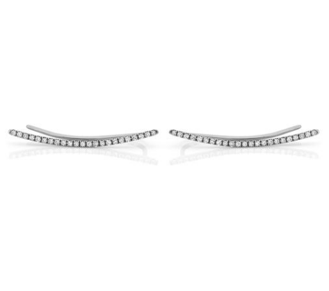 Ef Collection diamond curved bar ear cuff in white gold