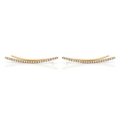 Ef Collection Diamond Curved Bar Yellow Gold Ear Cuff