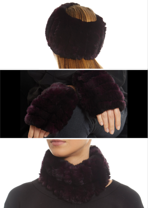 Purple Real Rex Rabbit Fur Snood and Fingerless Gloves