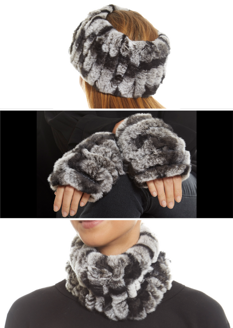 Black Snowtop Real Rex Rabbit Fur Snood and Fingerless Gloves | Jessimara London