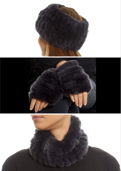 Real Rex Rabbit Fur Snood and Fingerless Gloves Set