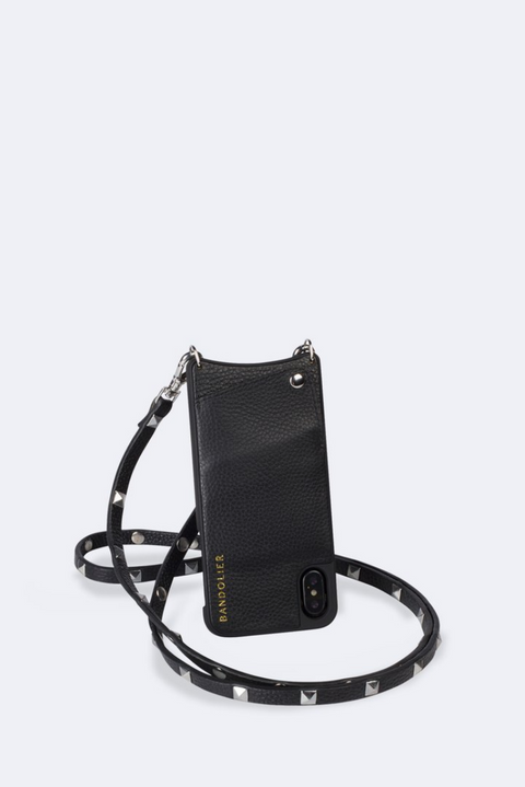 'Sarah' Black/Silver Pebble Leather Crossbody Bandolier