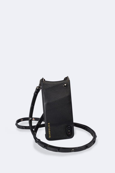'Sarah' Black/Pewter Pebble Leather Crossbody Bandolier | Jessimara London