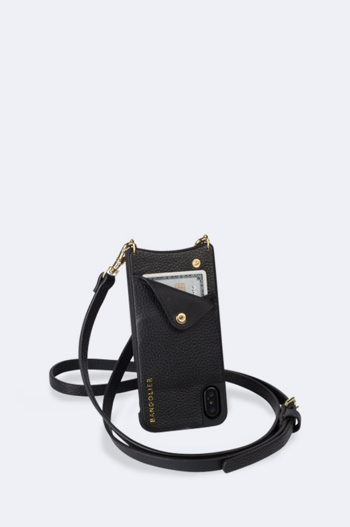 'Emma' Black/Gold Pebble Leather Crossbody Bandolier | Jessimara London