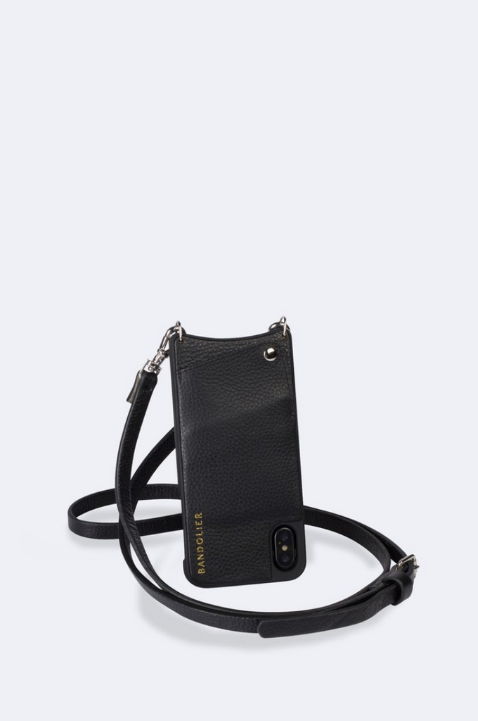 'Emma' Black/Silver Pebble Leather Crossbody Bandolier | Jessimara London