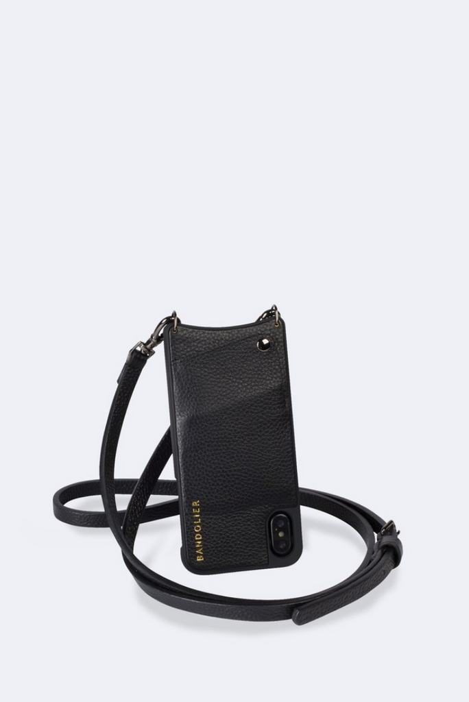 'Emma' Black/Pewter Pebble Leather Crossbody Bandolier | Jessimara London