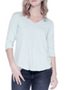 Blue V Neck 3/4 Sleeve Top | Jessimara London