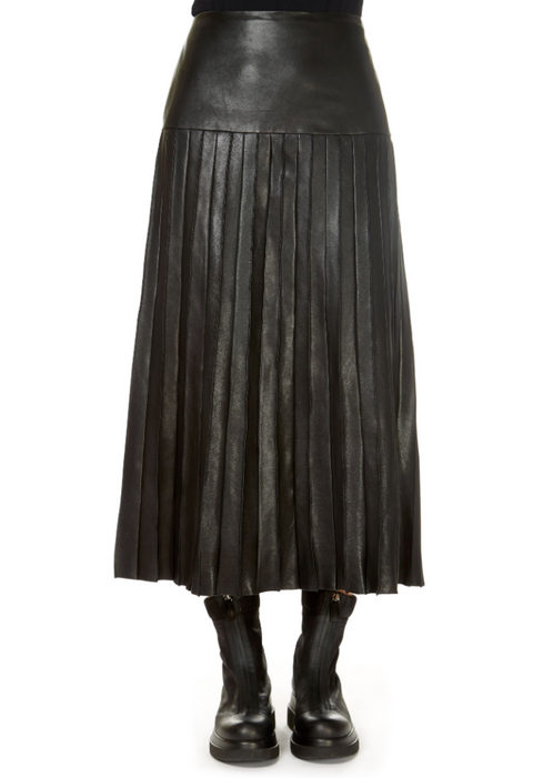 'Till' Black Leather Midi Skirt