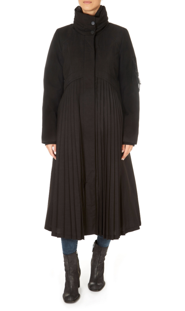 Pleated Long Black Raincoat