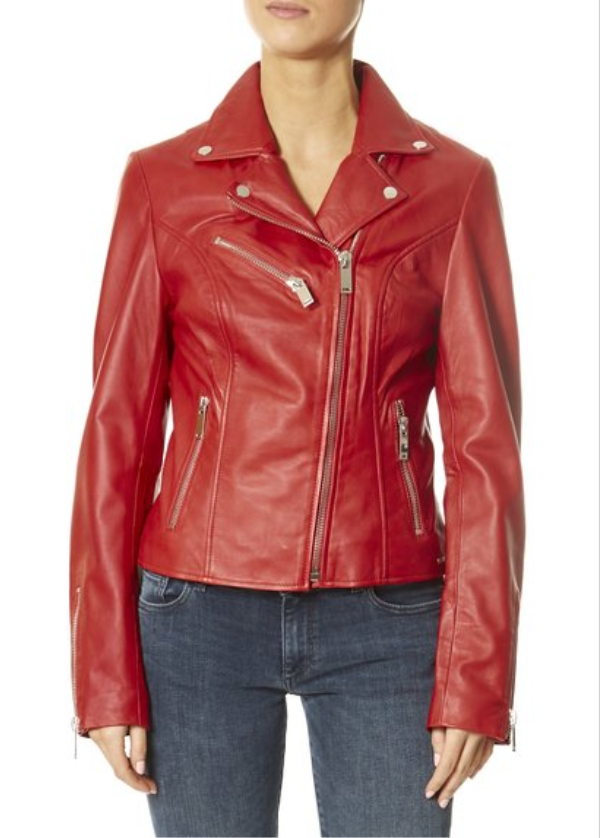 'Ghost' Poppy Red Biker Jacket | Jessimara London