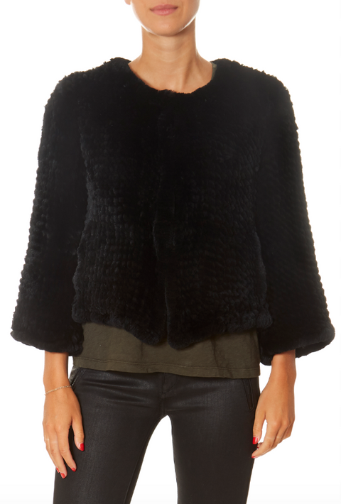 Black Fluted Arm Knitted Rabbit Jacket