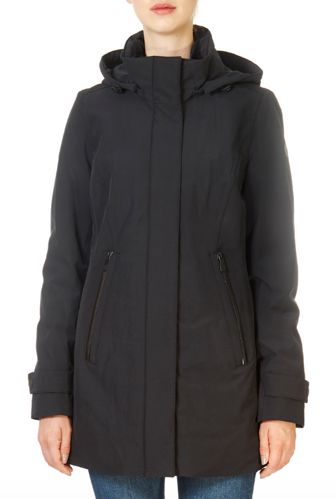 'Teresa' Long Black Waterproof Coat | Jessimara London