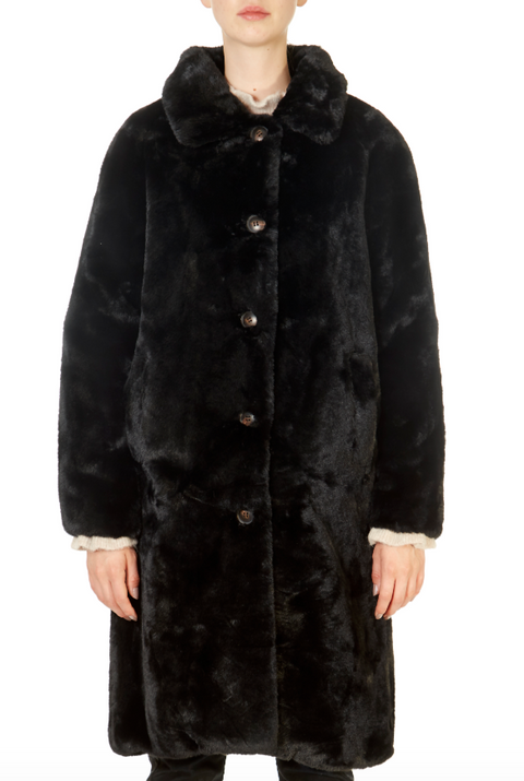 'Zonna' Black Long Faux Fur Coat | Jessimara London