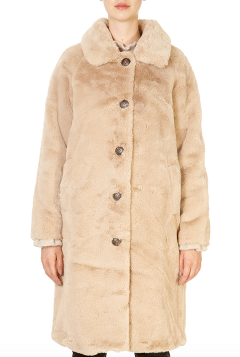 'Zonna' Dusty Pink and Beige Faux Fur Coat | Jessimara London