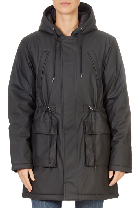 Black Padded Parka Rain Coat | Jessimara London