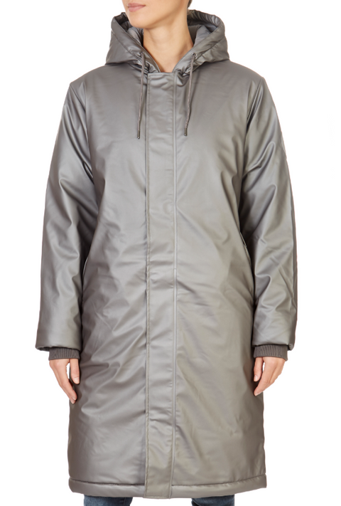 Metallic Charcoal Padded Rain Coat | Jessimara London