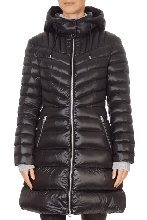 'Lara' Lightweight Down Black Coat With Removable Hood - Jessimara